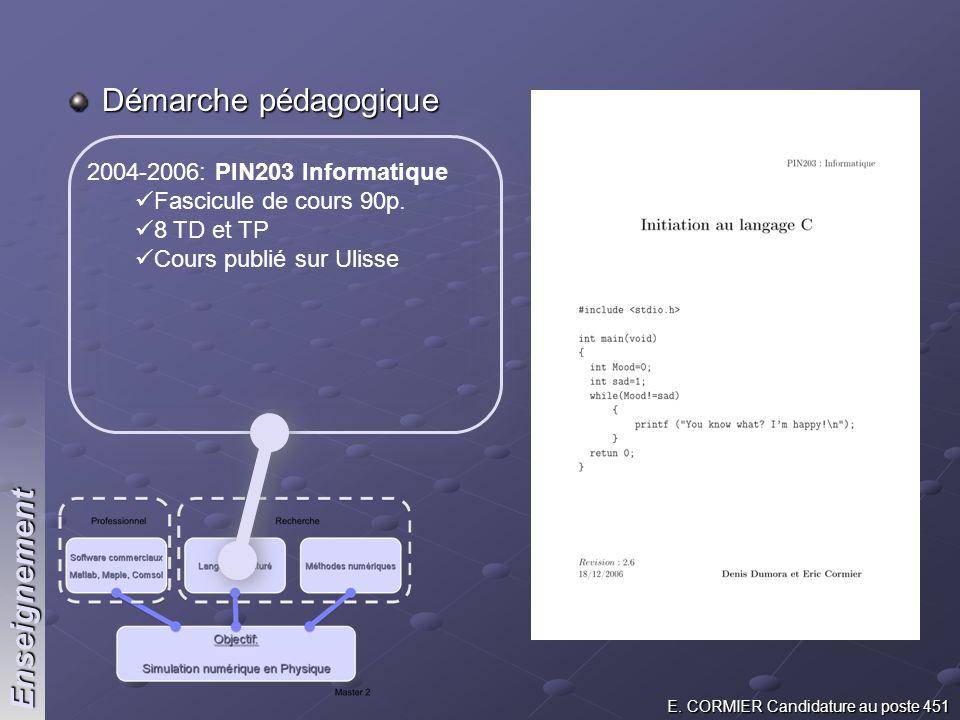 Démarche pédagogique Enseignement 2004-2006: PIN203 Informatique