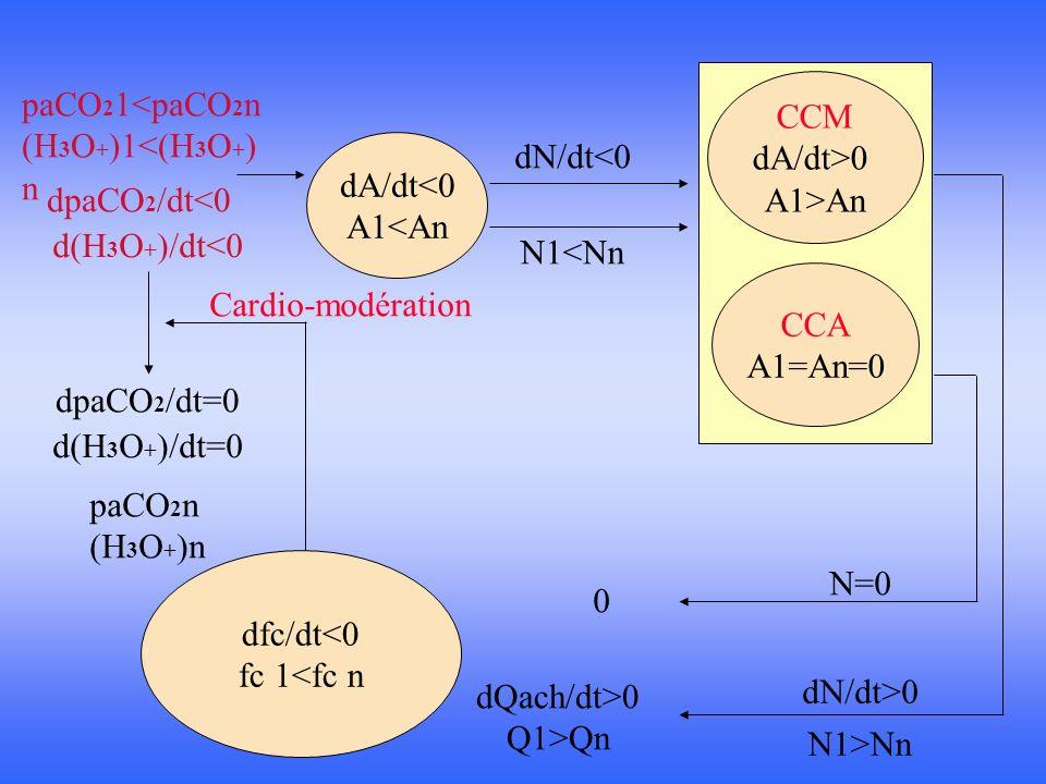 CCM dA/dt>0. A1>An. paCO21<paCO2n. (H3O+)1<(H3O+)n. dA/dt<0. A1<An. dN/dt<0. dpaCO2/dt<0. d(H3O+)/dt<0.