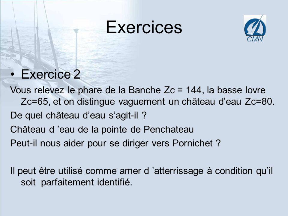 Exercices Exercice 2. Vous relevez le phare de la Banche Zc = 144, la basse lovre Zc=65, et on distingue vaguement un château d'eau Zc=80.