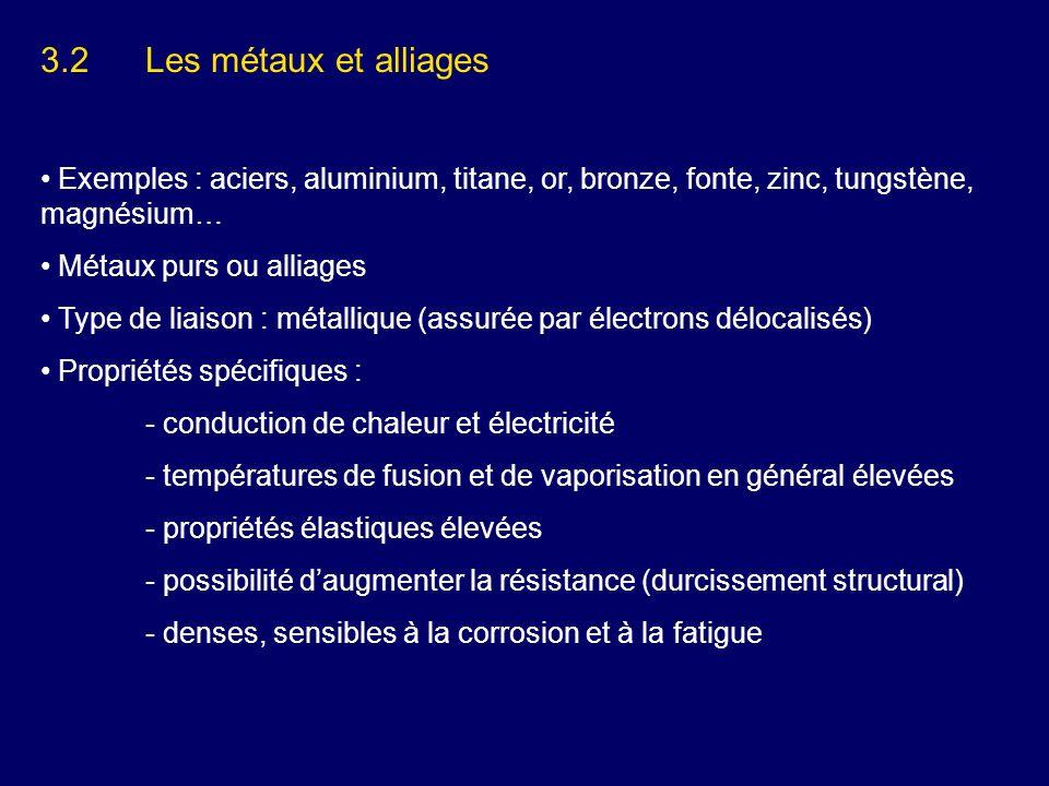 3.2 Les métaux et alliages Exemples : aciers, aluminium, titane, or, bronze, fonte, zinc, tungstène, magnésium…