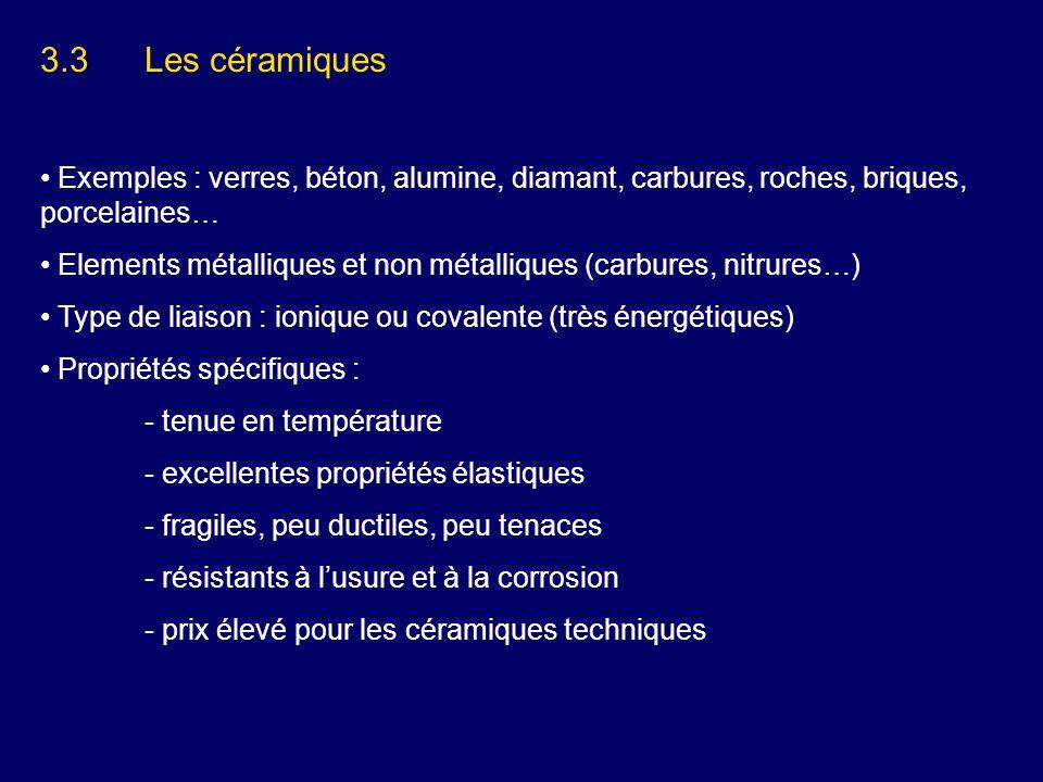 3.3 Les céramiques Exemples : verres, béton, alumine, diamant, carbures, roches, briques, porcelaines…