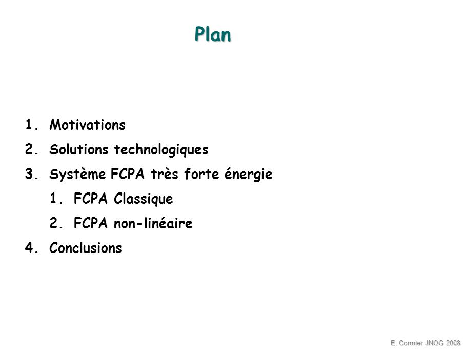 Plan Motivations Solutions technologiques