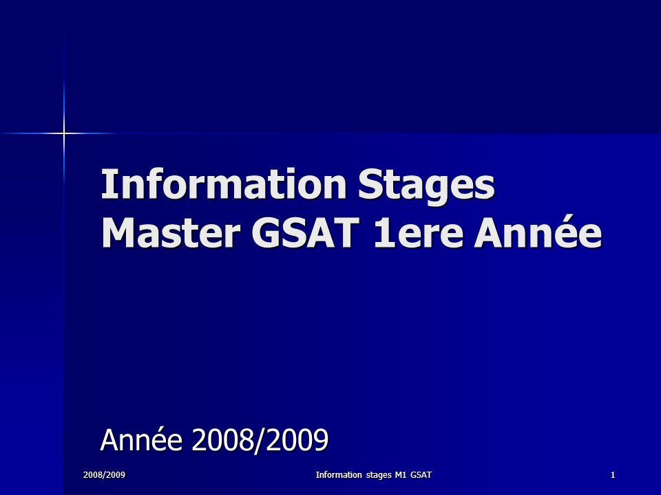 Information Stages Master GSAT 1ere Année