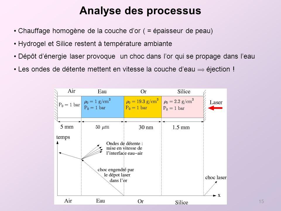 Analyse des processus Chauffage homogène de la couche d'or ( = épaisseur de peau) Hydrogel et Silice restent à température ambiante.