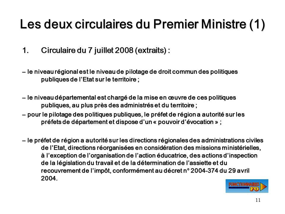 Les deux circulaires du Premier Ministre (1)