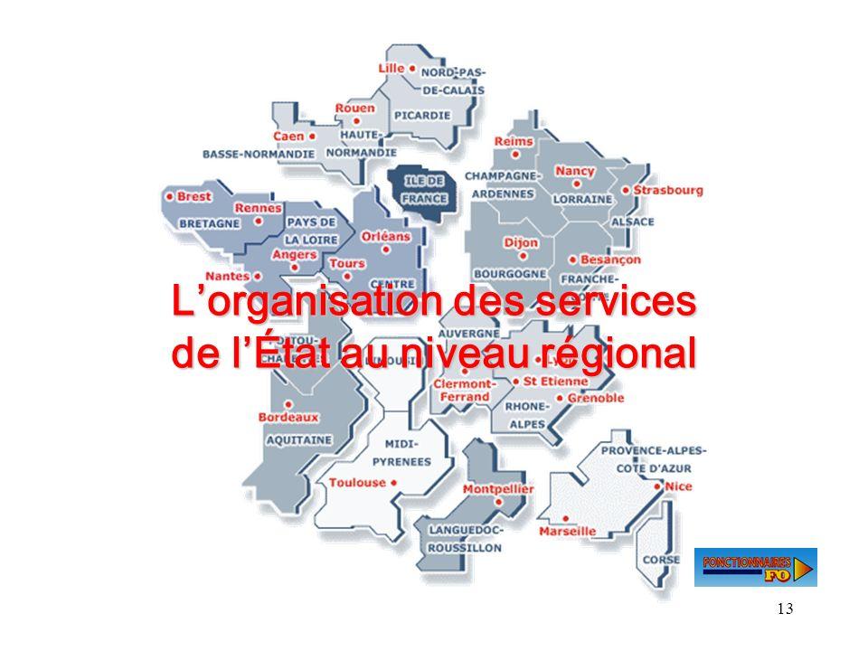 L'organisation des services de l'État au niveau régional
