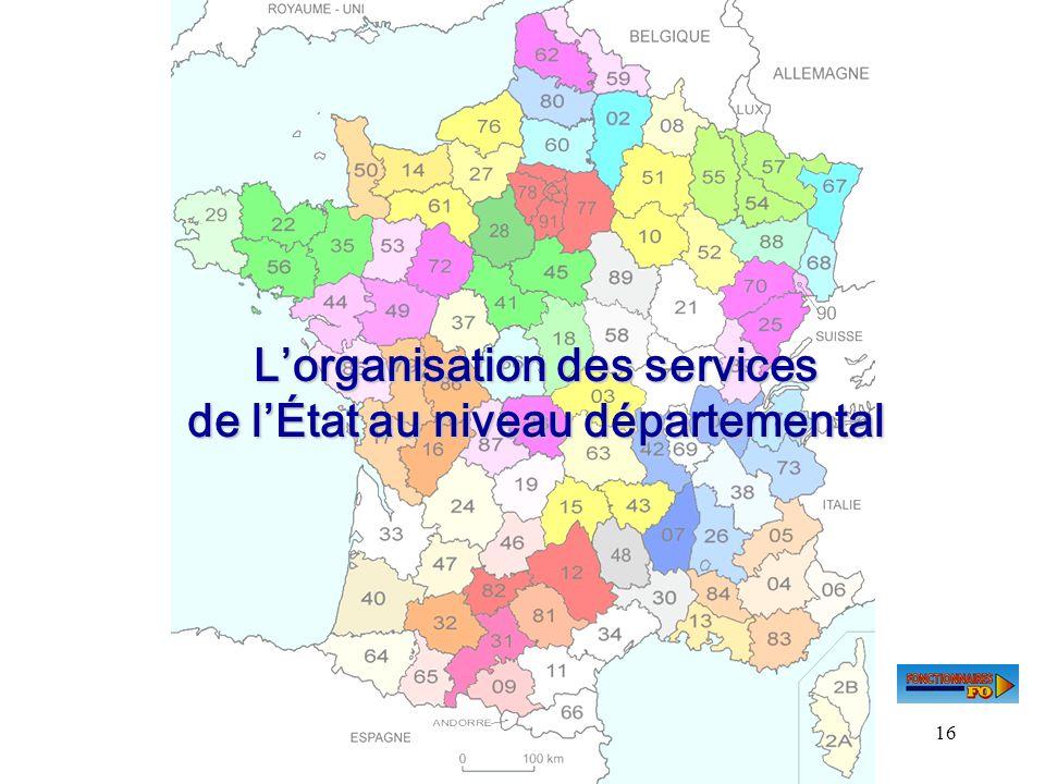 L'organisation des services de l'État au niveau départemental