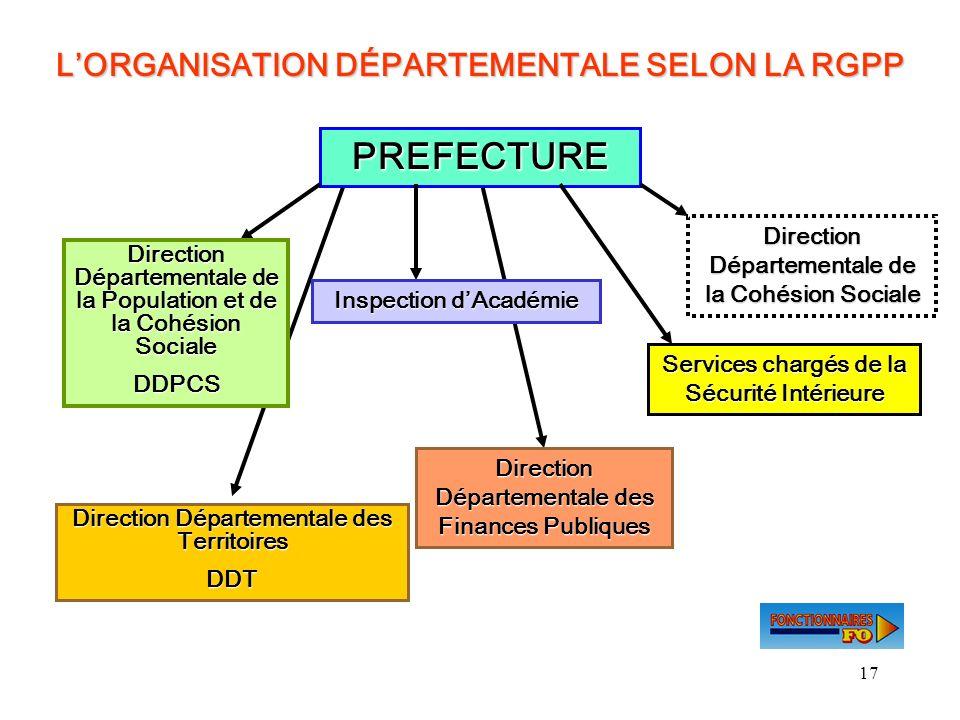 PREFECTURE L'ORGANISATION DÉPARTEMENTALE SELON LA RGPP