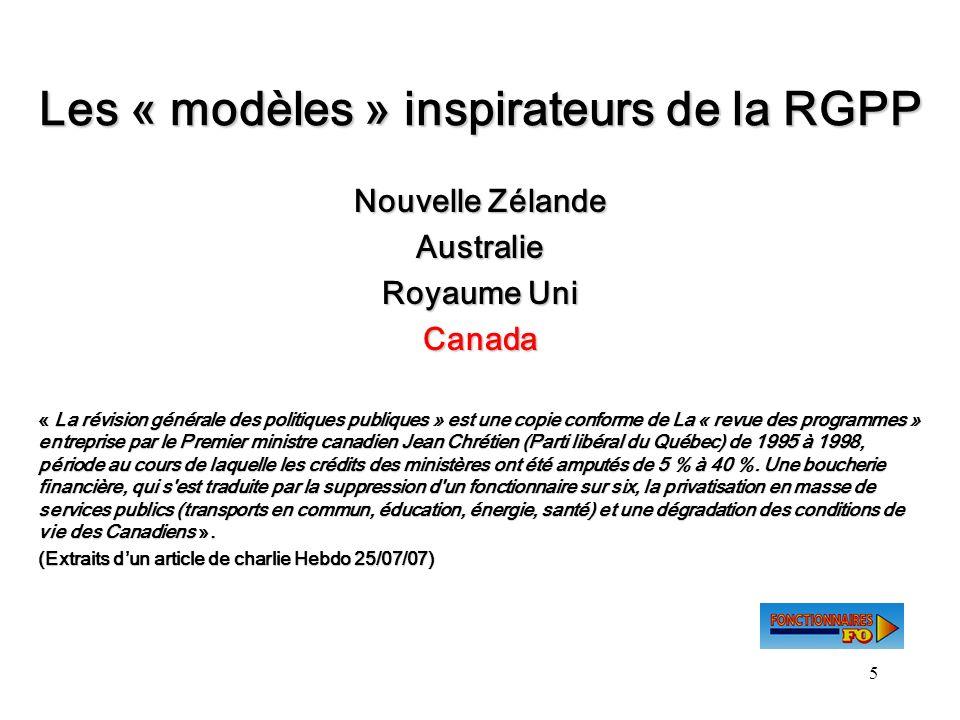 Les « modèles » inspirateurs de la RGPP