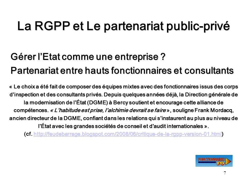 La RGPP et Le partenariat public-privé