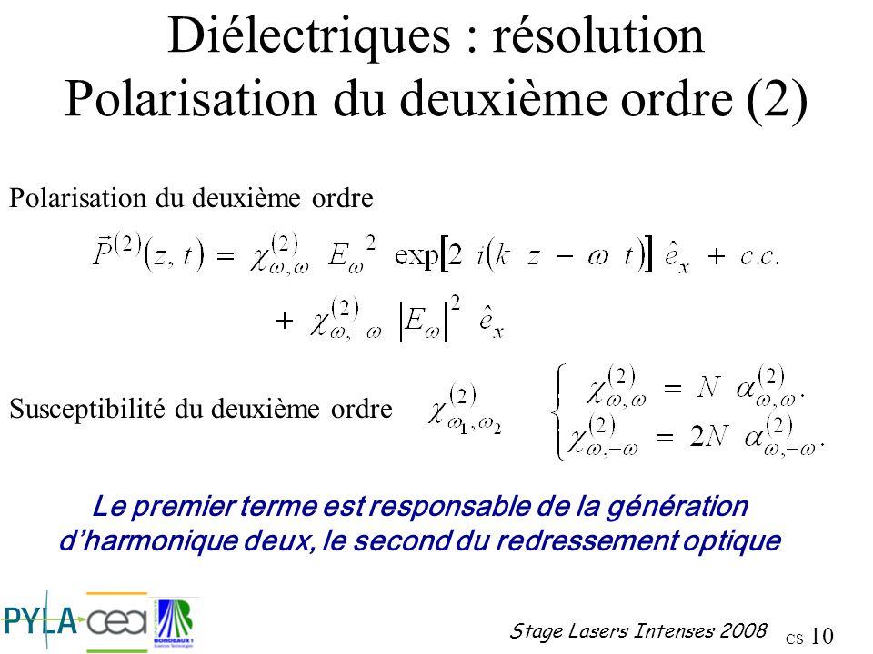 Diélectriques : résolution Polarisation du deuxième ordre (2)