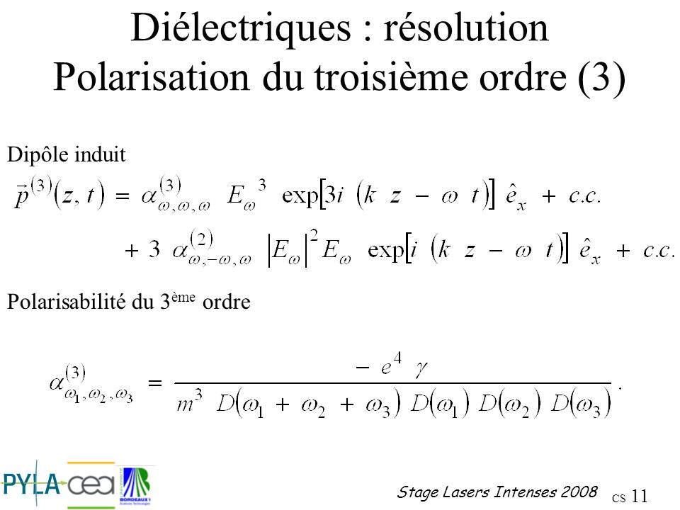 Diélectriques : résolution Polarisation du troisième ordre (3)