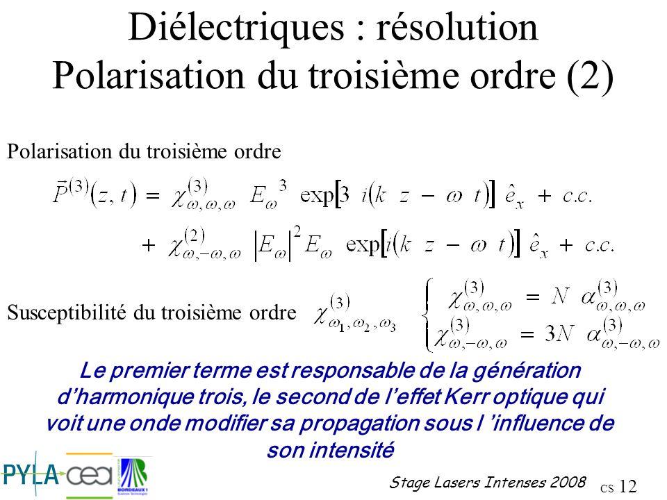 Diélectriques : résolution Polarisation du troisième ordre (2)