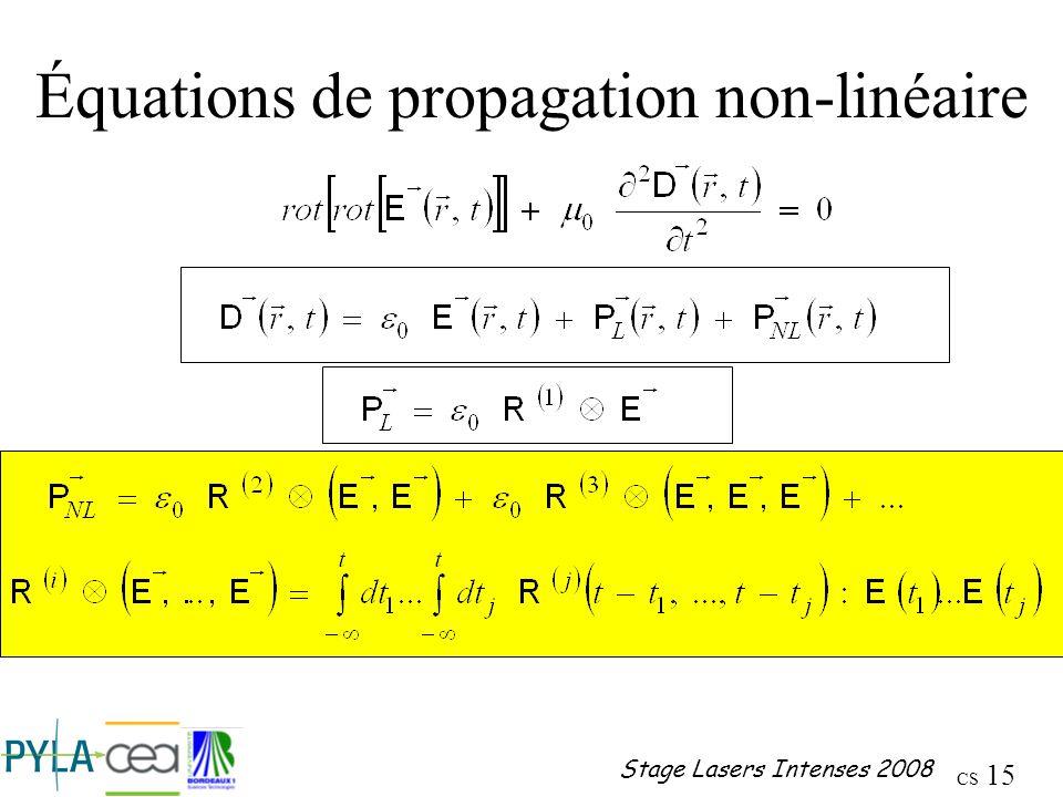Équations de propagation non-linéaire