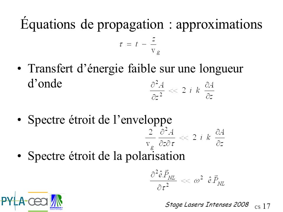 Équations de propagation : approximations