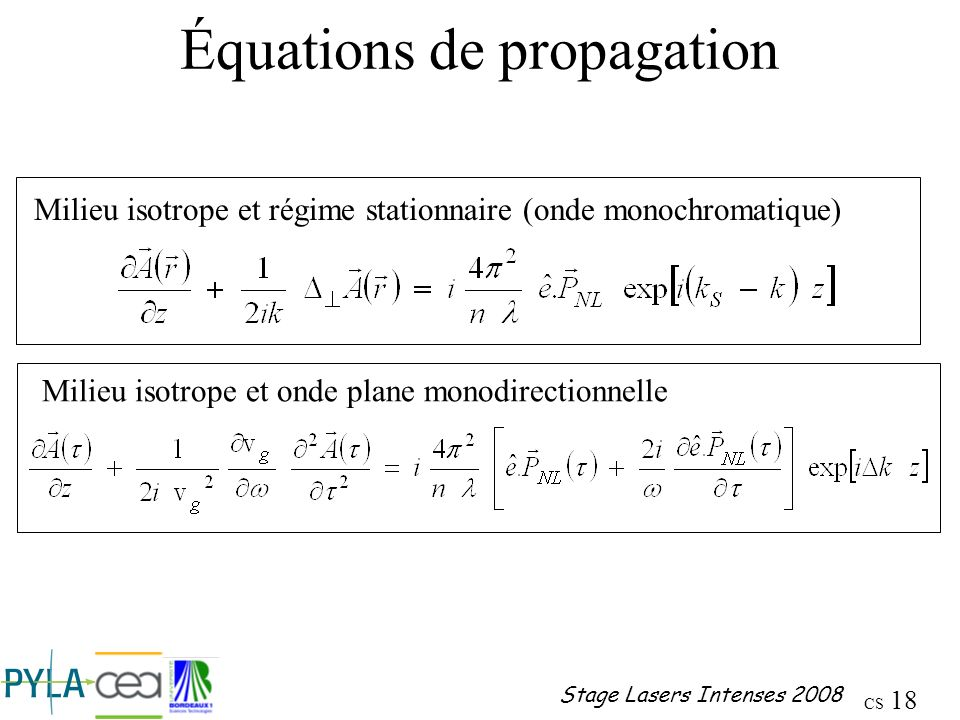 Équations de propagation