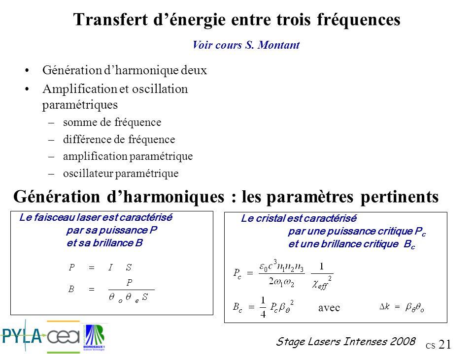 Transfert d'énergie entre trois fréquences