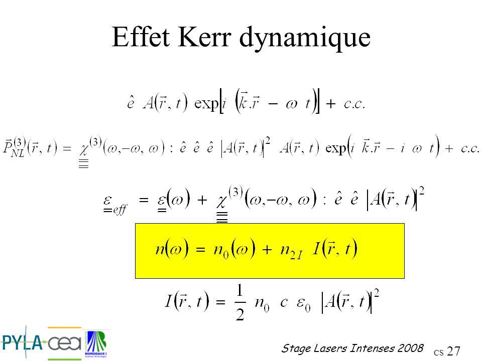 Effet Kerr dynamique