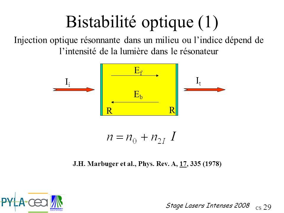 Bistabilité optique (1)