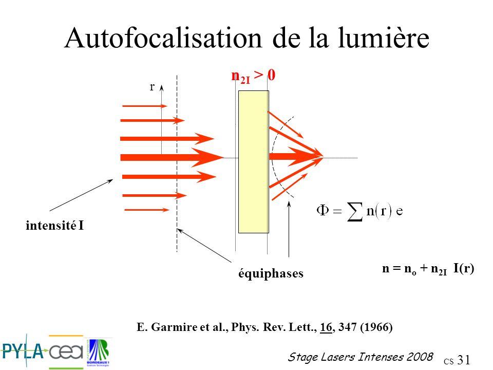 Autofocalisation de la lumière