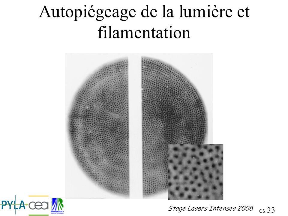 Autopiégeage de la lumière et filamentation