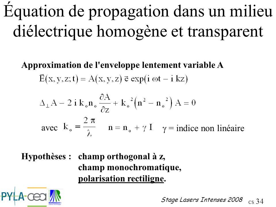 Équation de propagation dans un milieu diélectrique homogène et transparent