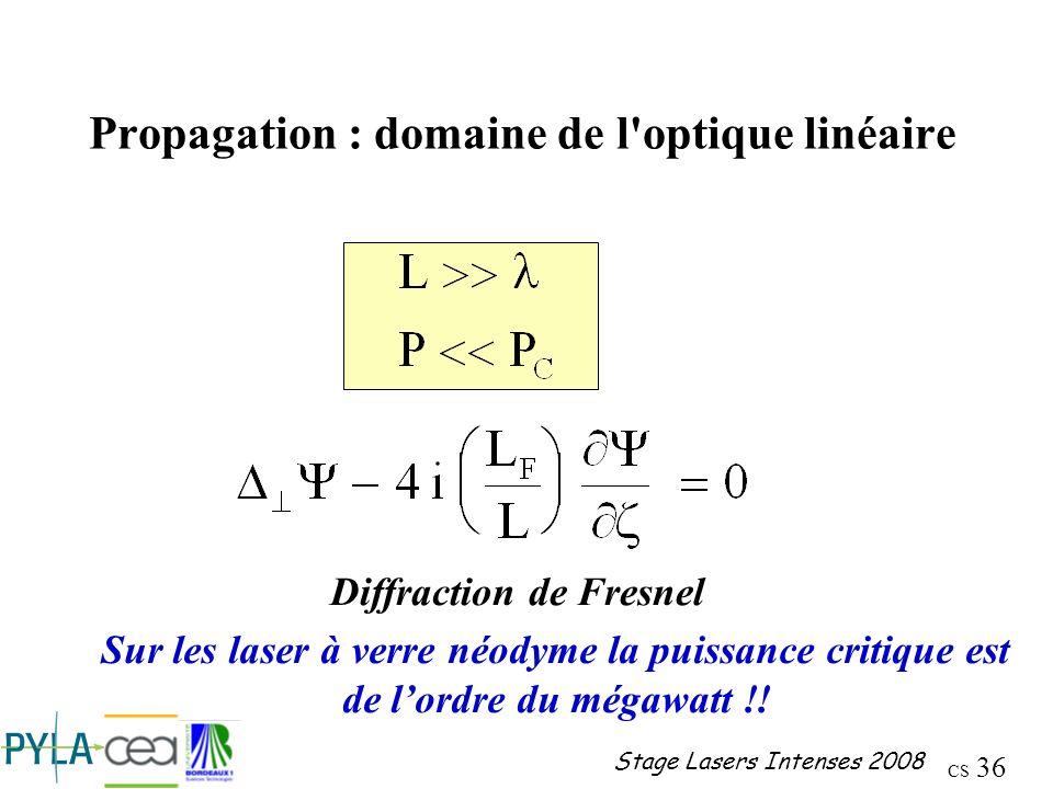 Propagation : domaine de l optique linéaire
