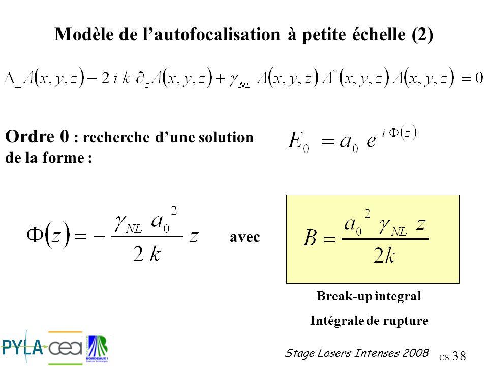 Modèle de l'autofocalisation à petite échelle (2)