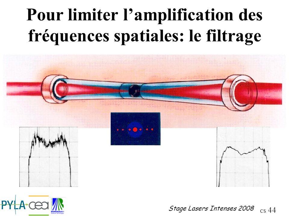 Pour limiter l'amplification des fréquences spatiales: le filtrage