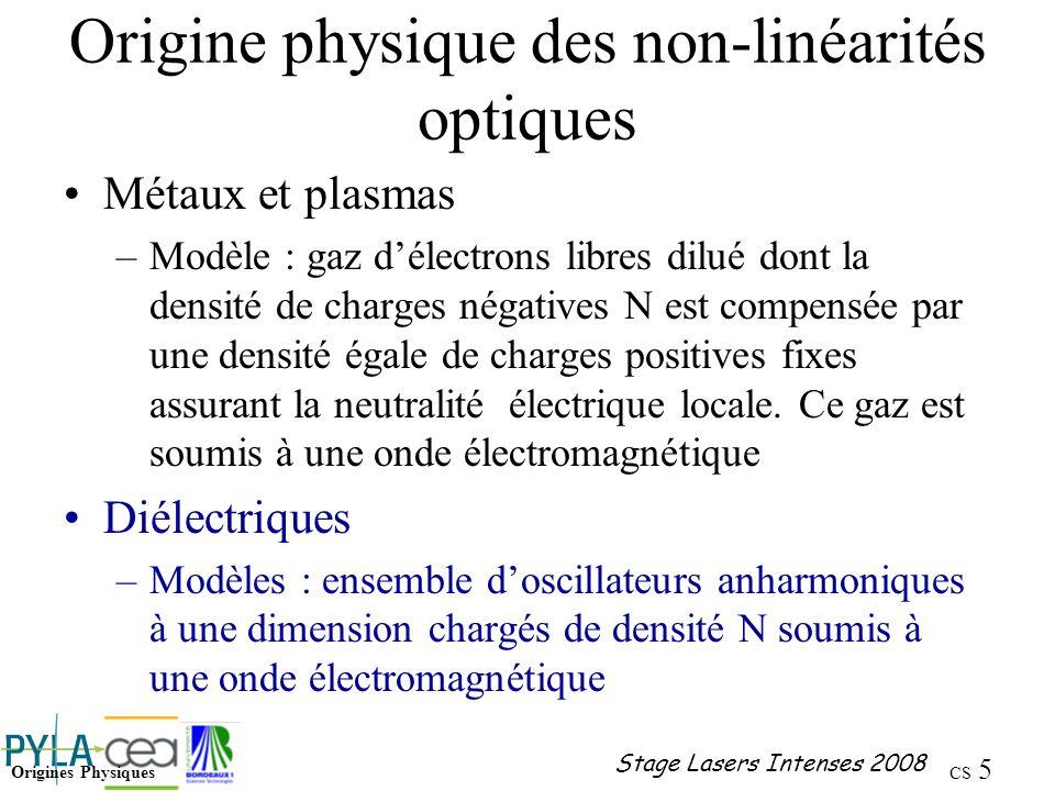 Origine physique des non-linéarités optiques