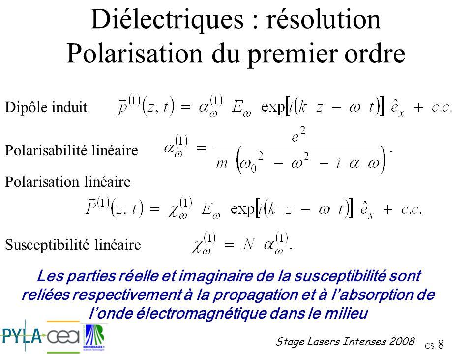Diélectriques : résolution Polarisation du premier ordre
