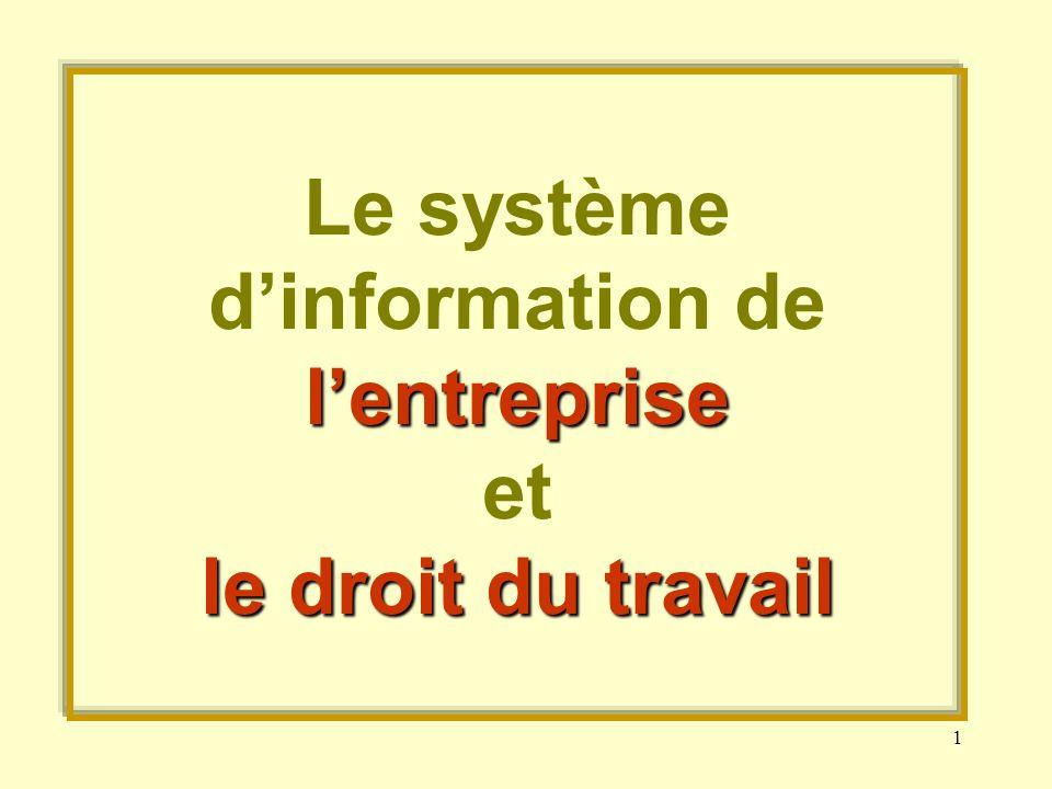 Le système d'information de l'entreprise et le droit du travail