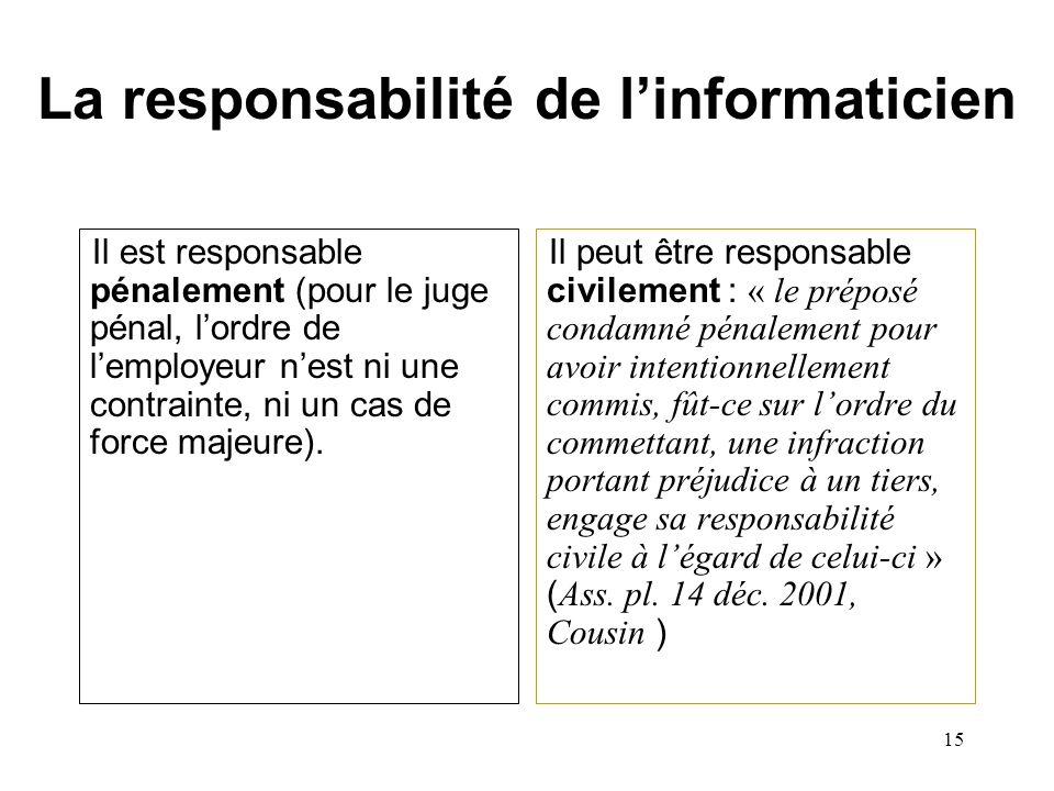 La responsabilité de l'informaticien