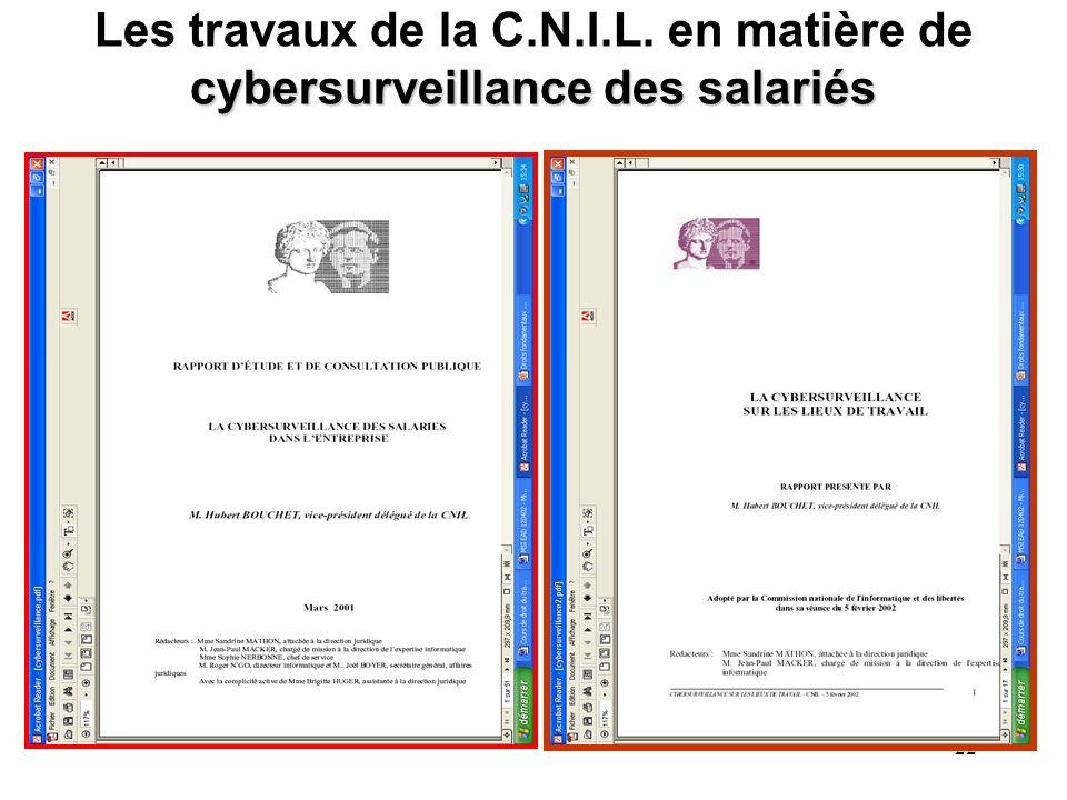Les travaux de la C.N.I.L. en matière de cybersurveillance des salariés
