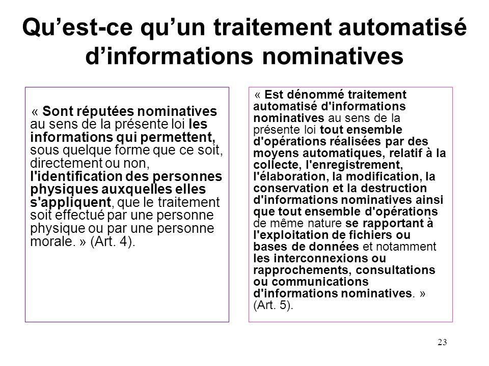 Qu'est-ce qu'un traitement automatisé d'informations nominatives