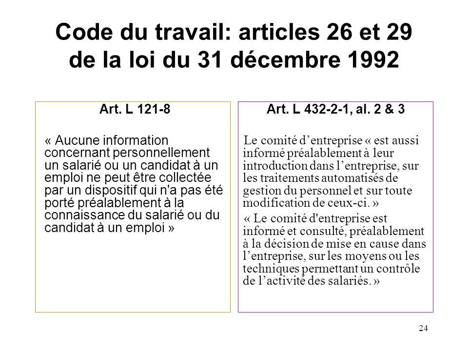 Code du travail: articles 26 et 29 de la loi du 31 décembre 1992