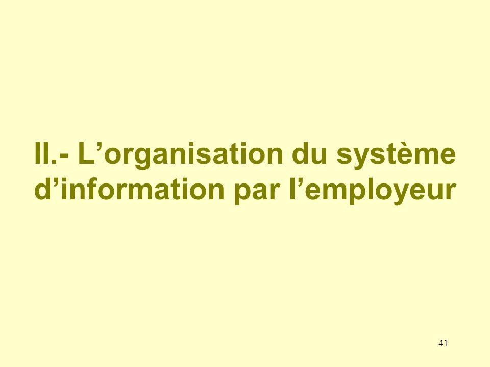 II.- L'organisation du système d'information par l'employeur