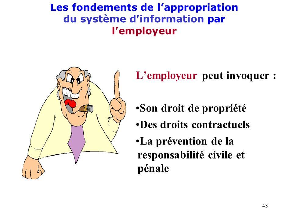 L'employeur peut invoquer : Son droit de propriété