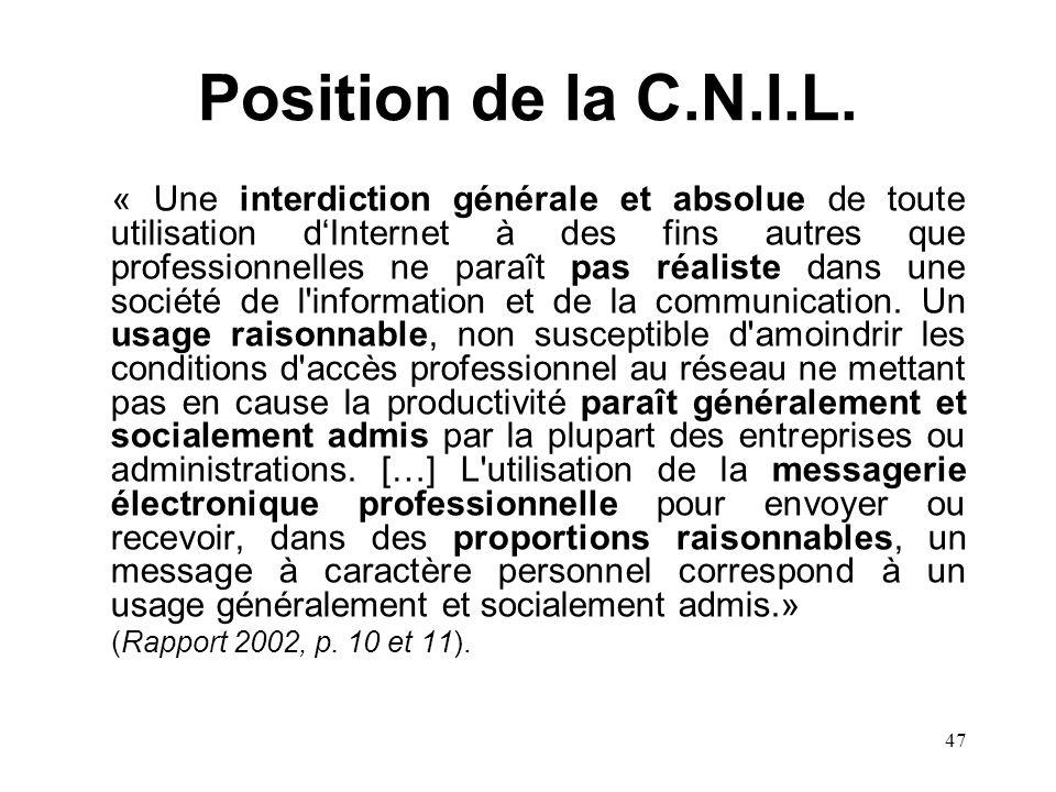 Position de la C.N.I.L.