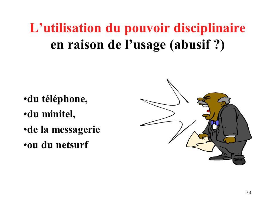 L'utilisation du pouvoir disciplinaire en raison de l'usage (abusif )