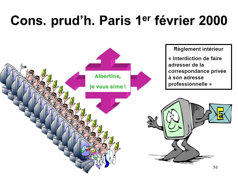 Cons. prud'h. Paris 1er février 2000