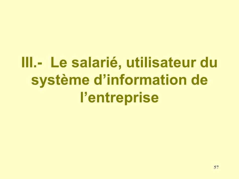 III.- Le salarié, utilisateur du système d'information de l'entreprise
