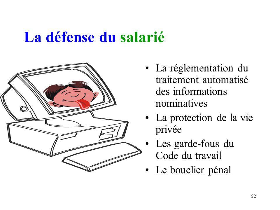La défense du salarié La réglementation du traitement automatisé des informations nominatives. La protection de la vie privée.