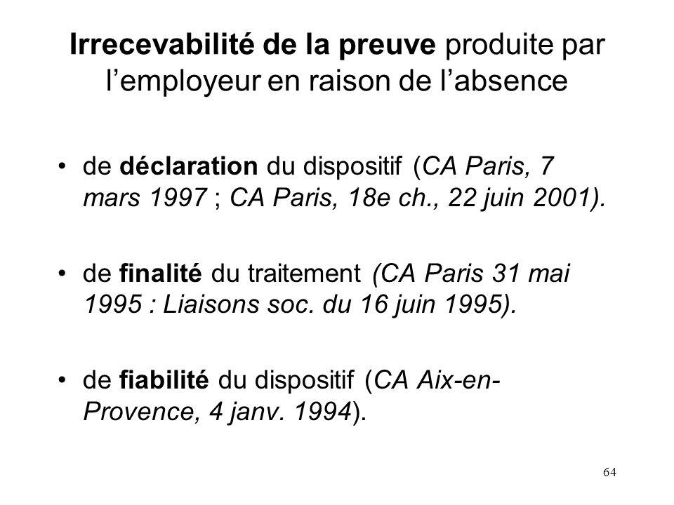 Irrecevabilité de la preuve produite par l'employeur en raison de l'absence