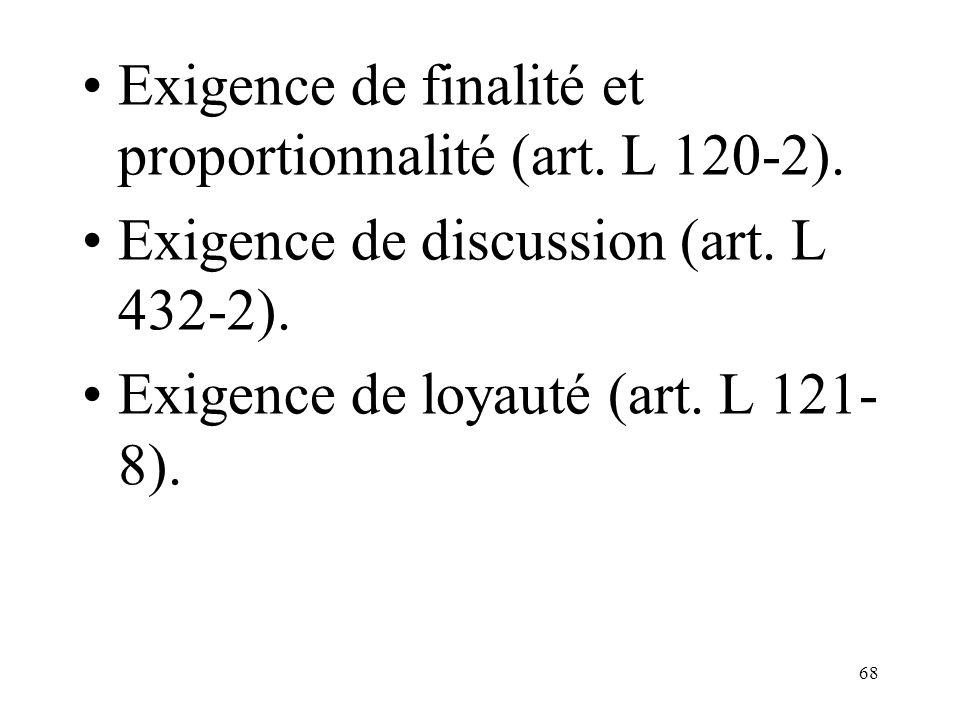 Exigence de finalité et proportionnalité (art. L 120-2).