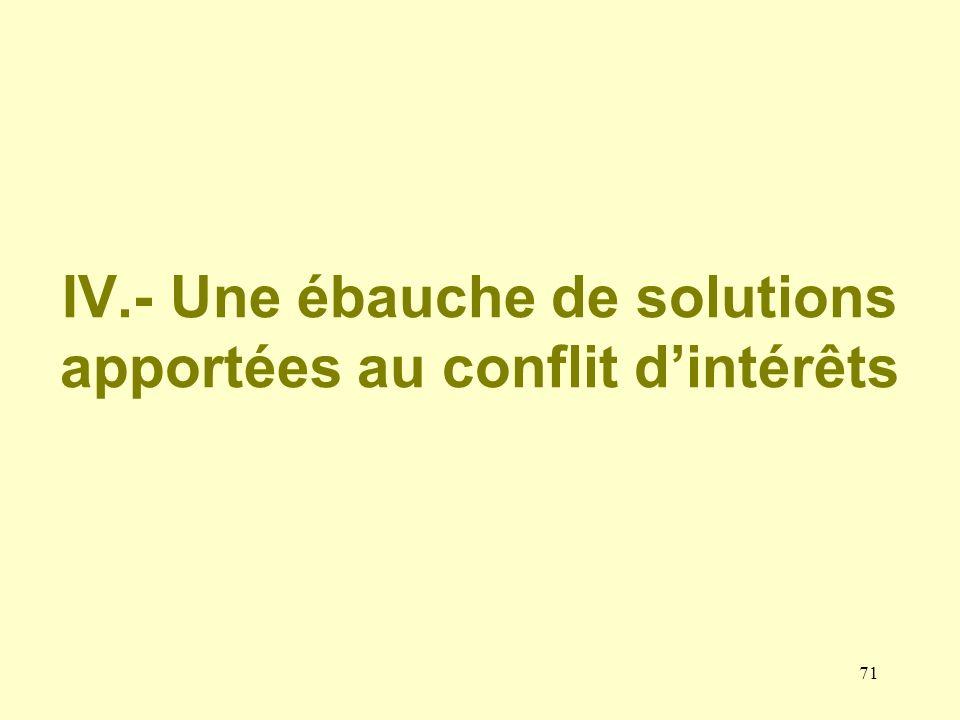 IV.- Une ébauche de solutions apportées au conflit d'intérêts