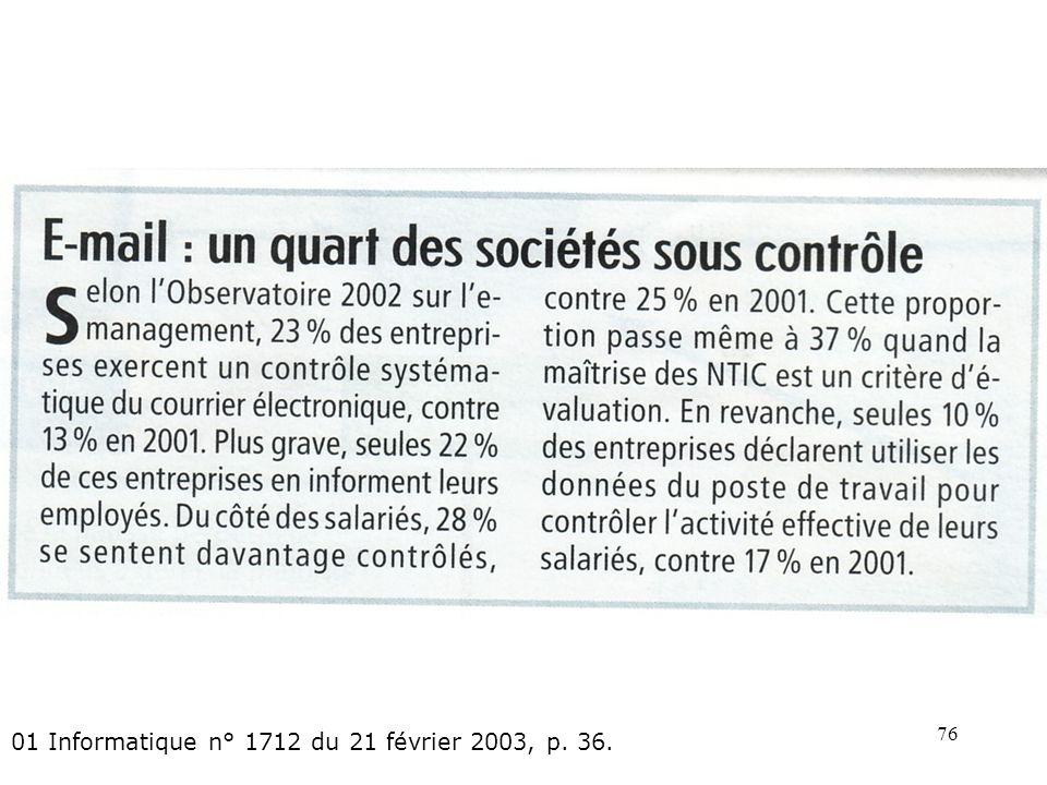 01 Informatique n° 1712 du 21 février 2003, p. 36.