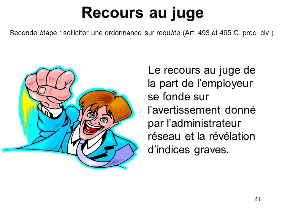 Recours au juge Seconde étape : solliciter une ordonnance sur requête (Art. 493 et 495 C. proc. civ.).