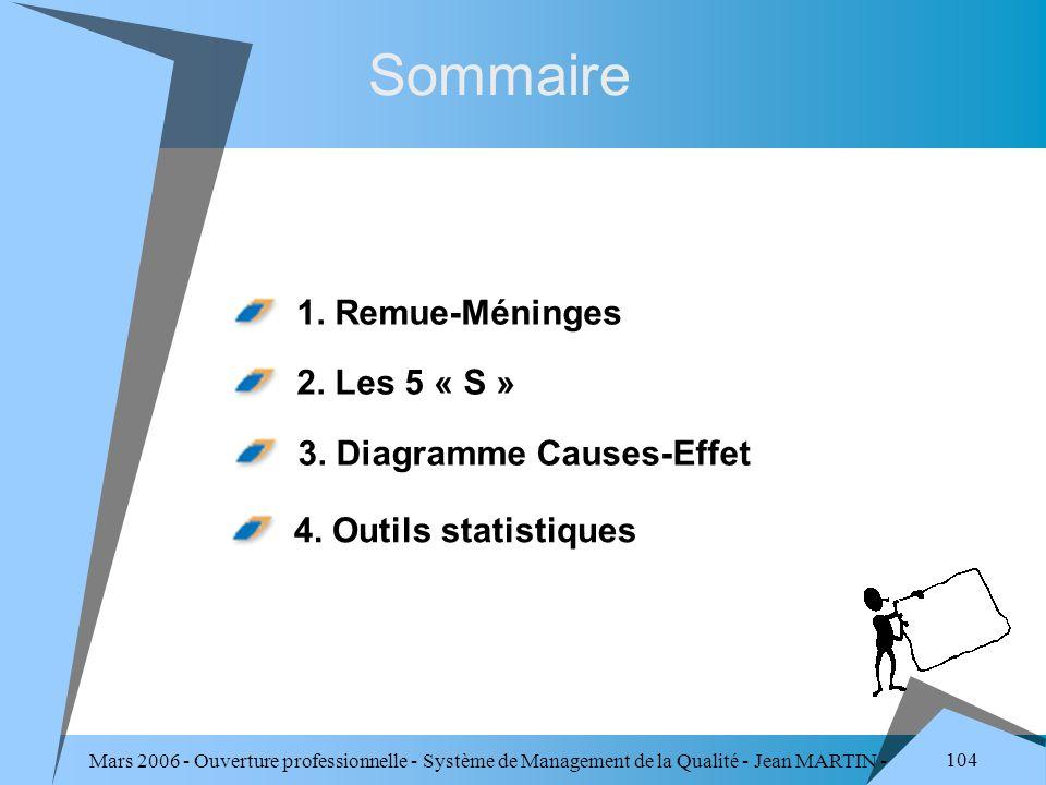 Sommaire 1. Remue-Méninges 2. Les 5 « S » 3. Diagramme Causes-Effet