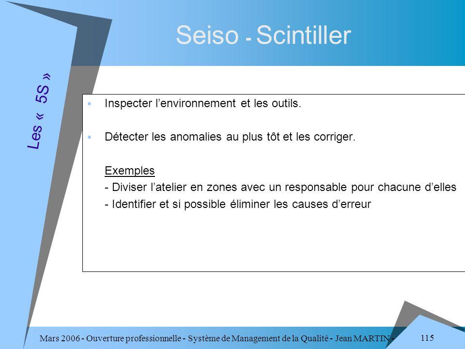 Seiso - Scintiller Les « 5S » Inspecter l'environnement et les outils.